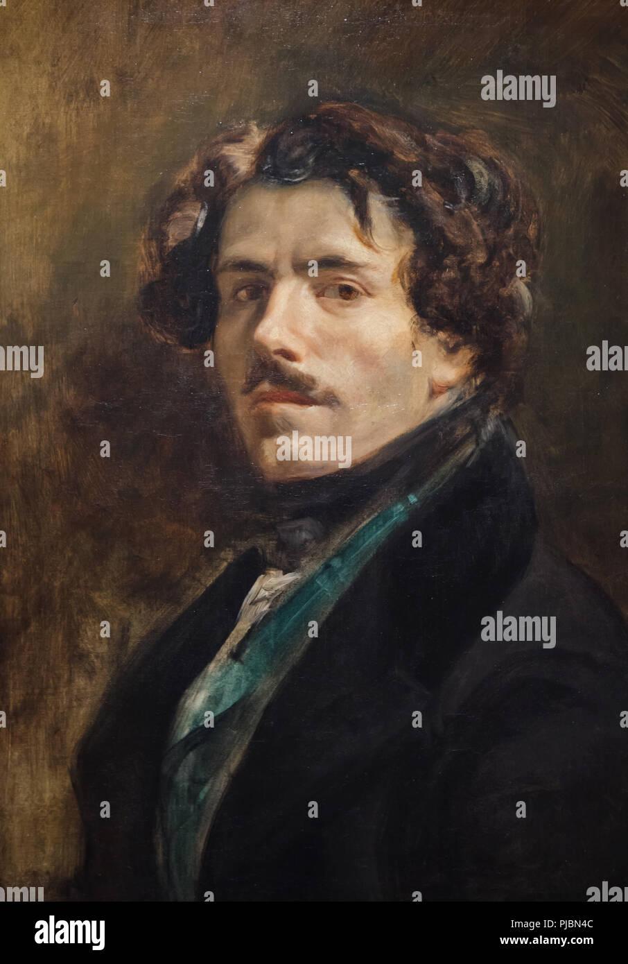 """Self-portrait von Französischen romantischen Maler Eugène Delacroix, bekannt als """"Self-portrait in der grüne Weste' (Ca. 1837) auf dem Display an seiner Retrospektive im Musée du Louvre in Paris, Frankreich. Die Ausstellung, die Meisterwerke der Führer der französischen Romantik läuft bis 23. Juli 2018. Stockbild"""