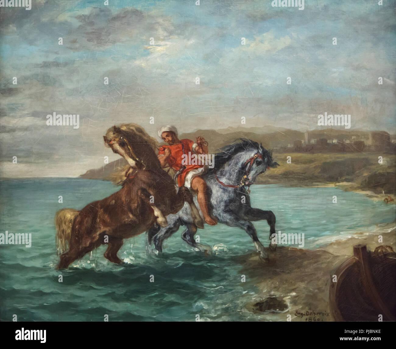 """Malerei"""" Pferde aus dem Meer"""" (1858-1860) von französischen romantischen Maler Eugène Delacroix auf Anzeige an seine retrospektive Ausstellung im Louvre in Paris, Frankreich. Die Ausstellung, die Meisterwerke der Führer der französischen Romantik läuft bis 23. Juli 2018. Stockbild"""