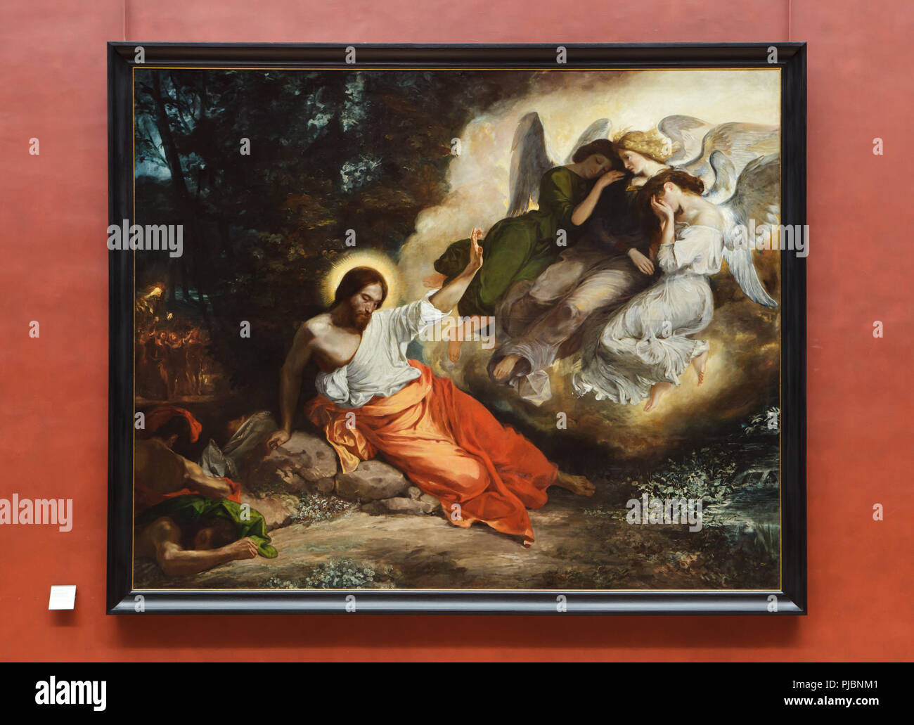 """Gemälde """"Christus am Ölberg"""" durch die Französische romantische Maler Eugène Delacroix (1824) auf dem Display an seiner Retrospektive im Musée du Louvre in Paris, Frankreich. Die Ausstellung, die Meisterwerke der Führer der französischen Romantik läuft bis 23. Juli 2018. Stockbild"""