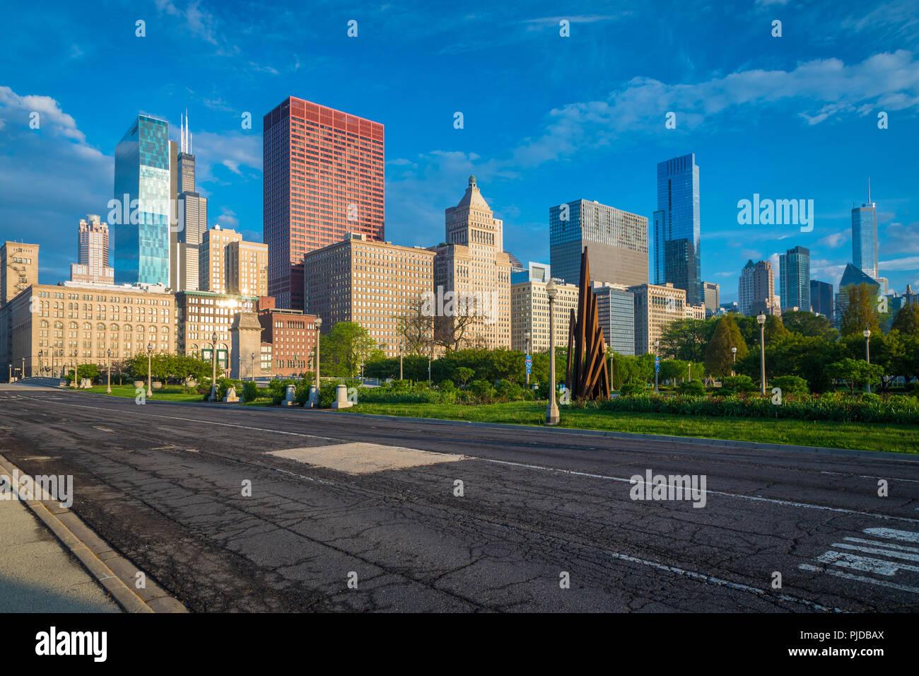 Chicago, eine Stadt im US-Bundesstaat Illinois, ist die bevölkerungsreichste Stadt der Vereinigten Staaten. Stockbild