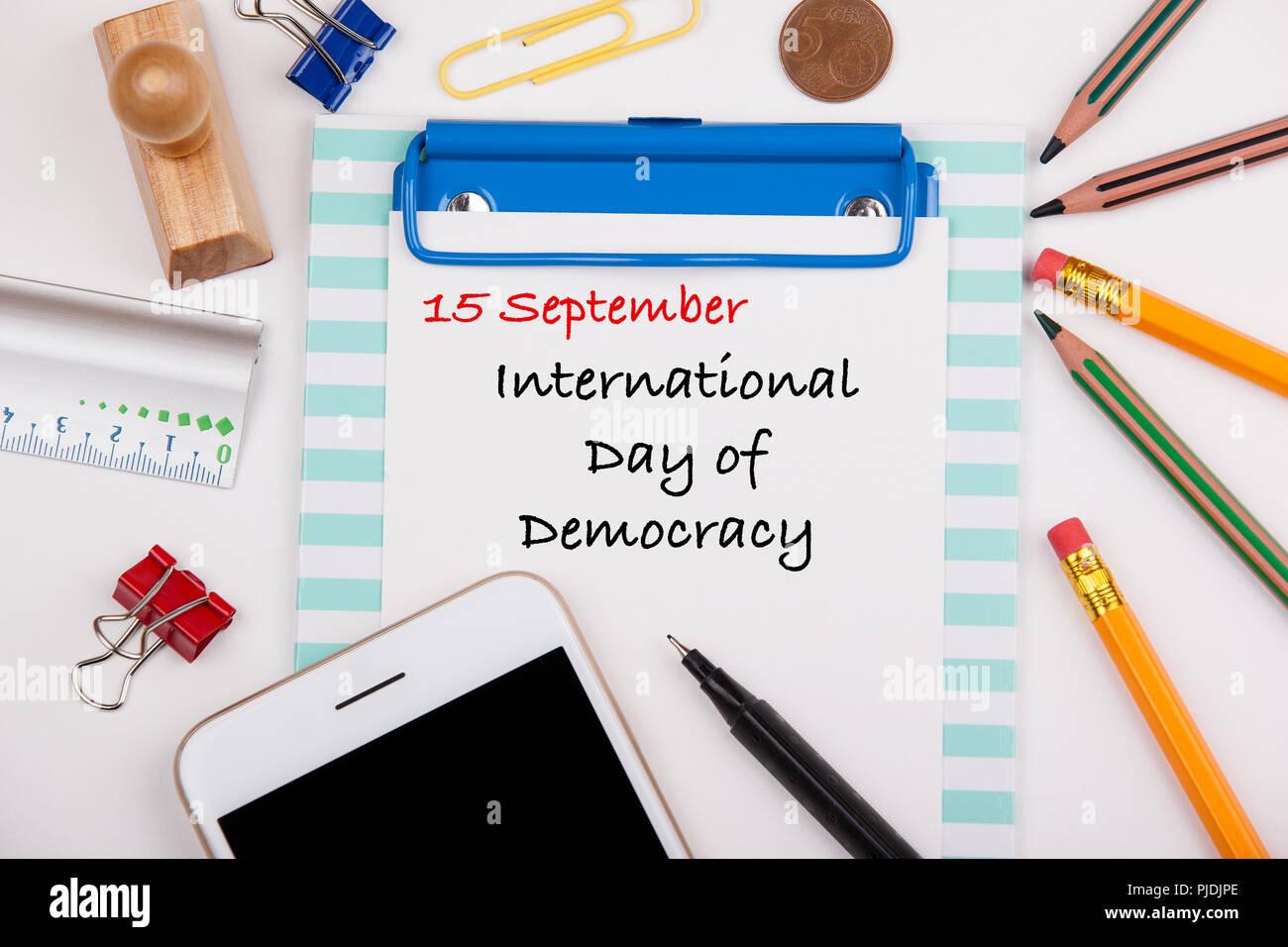 Internationaler Tag der Demokratie 15. September Stockfoto