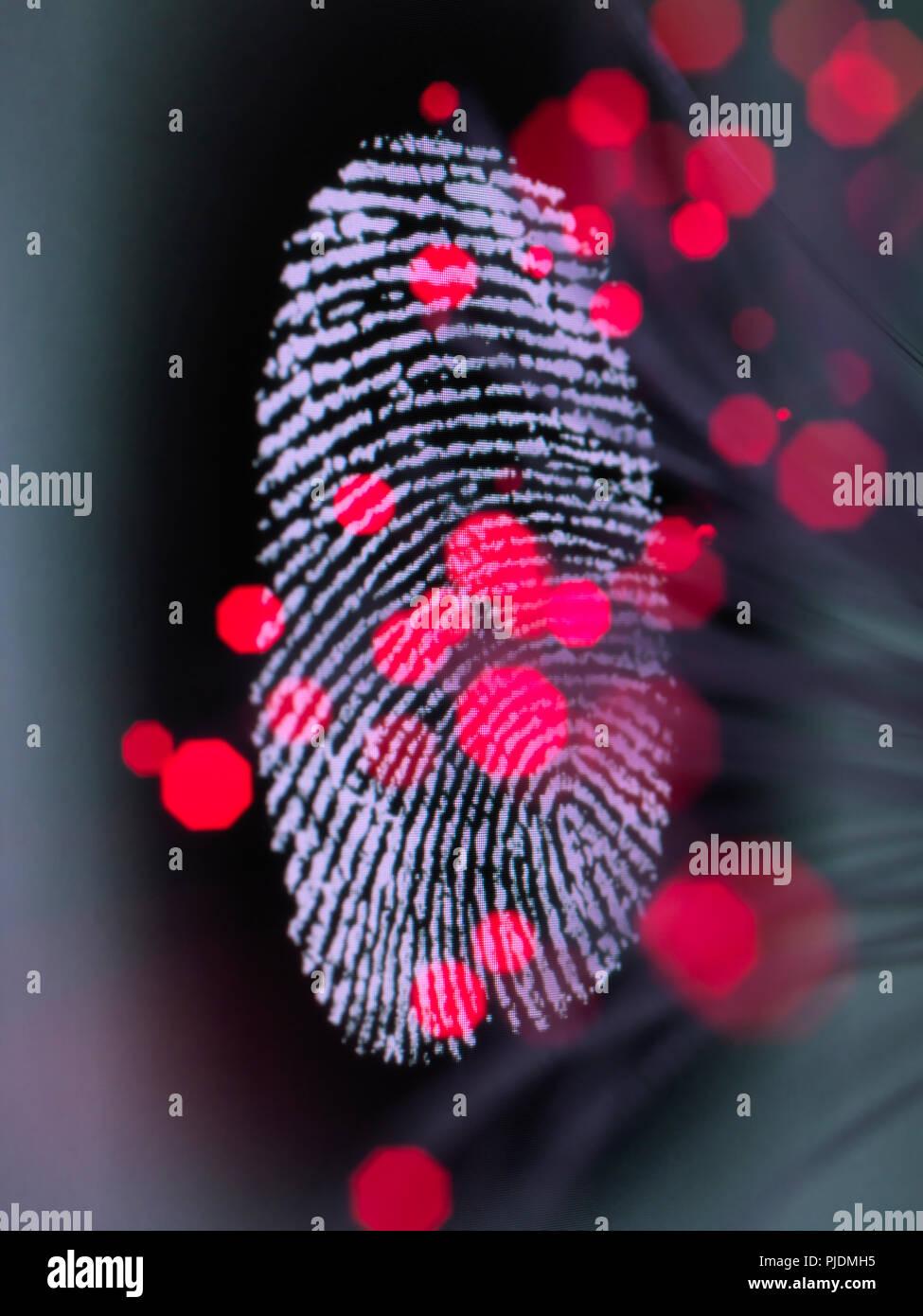 Daten infizieren ein Fingerabdruck Identität auf einem Bildschirm Hacking und Internetkriminalität zu veranschaulichen Stockbild