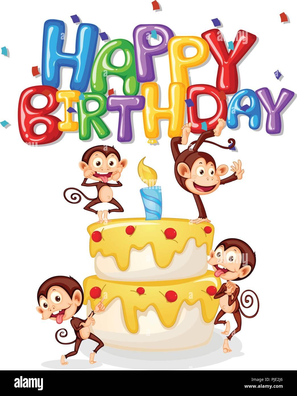 Monkey Happy Birthday Card Abbildung