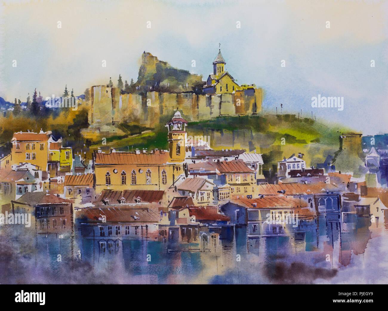 Tbilisi Altstadt Stadt Mtatsminda Berg die Festung Narikala Stockbild