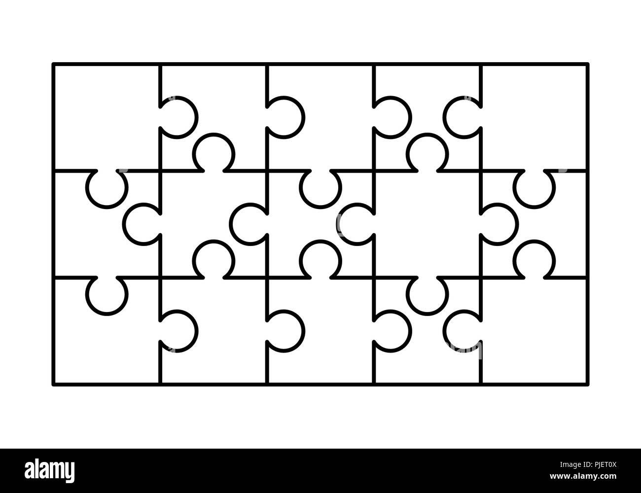 15 weiße Rätsel Stücke in einem Rechteck angeordnet. Puzzle Vorlage ...