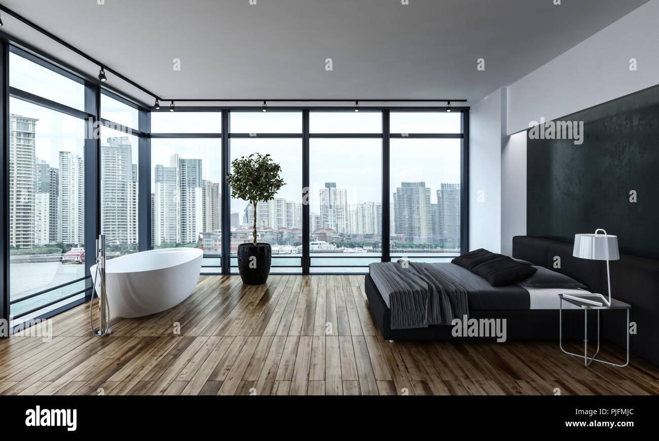Modernes Schlafzimmer mit weißer Wanne und große graue Bett weiter ...