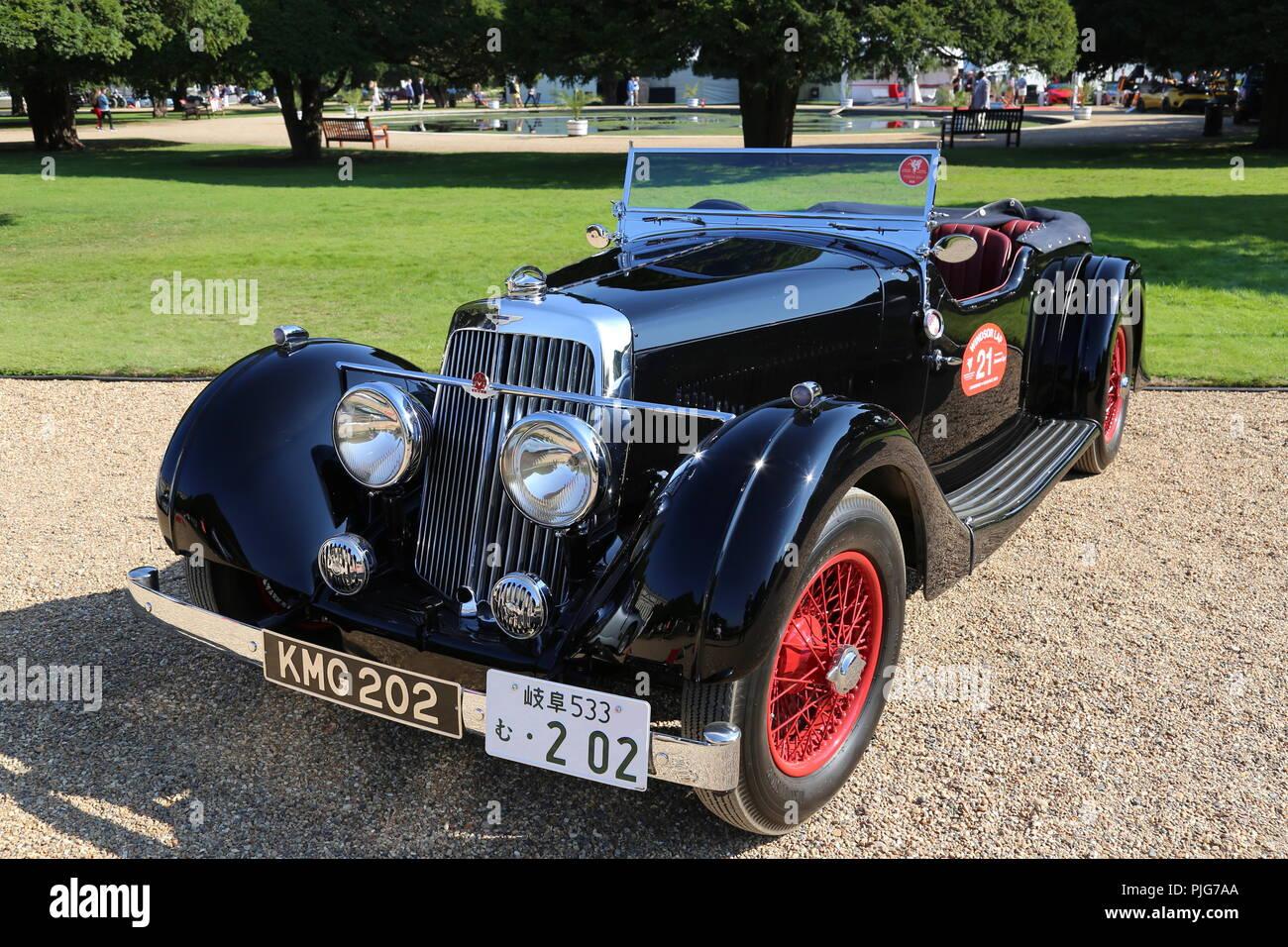 aston martin 15/98 lange chassis tourer (1937), concours von eleganz