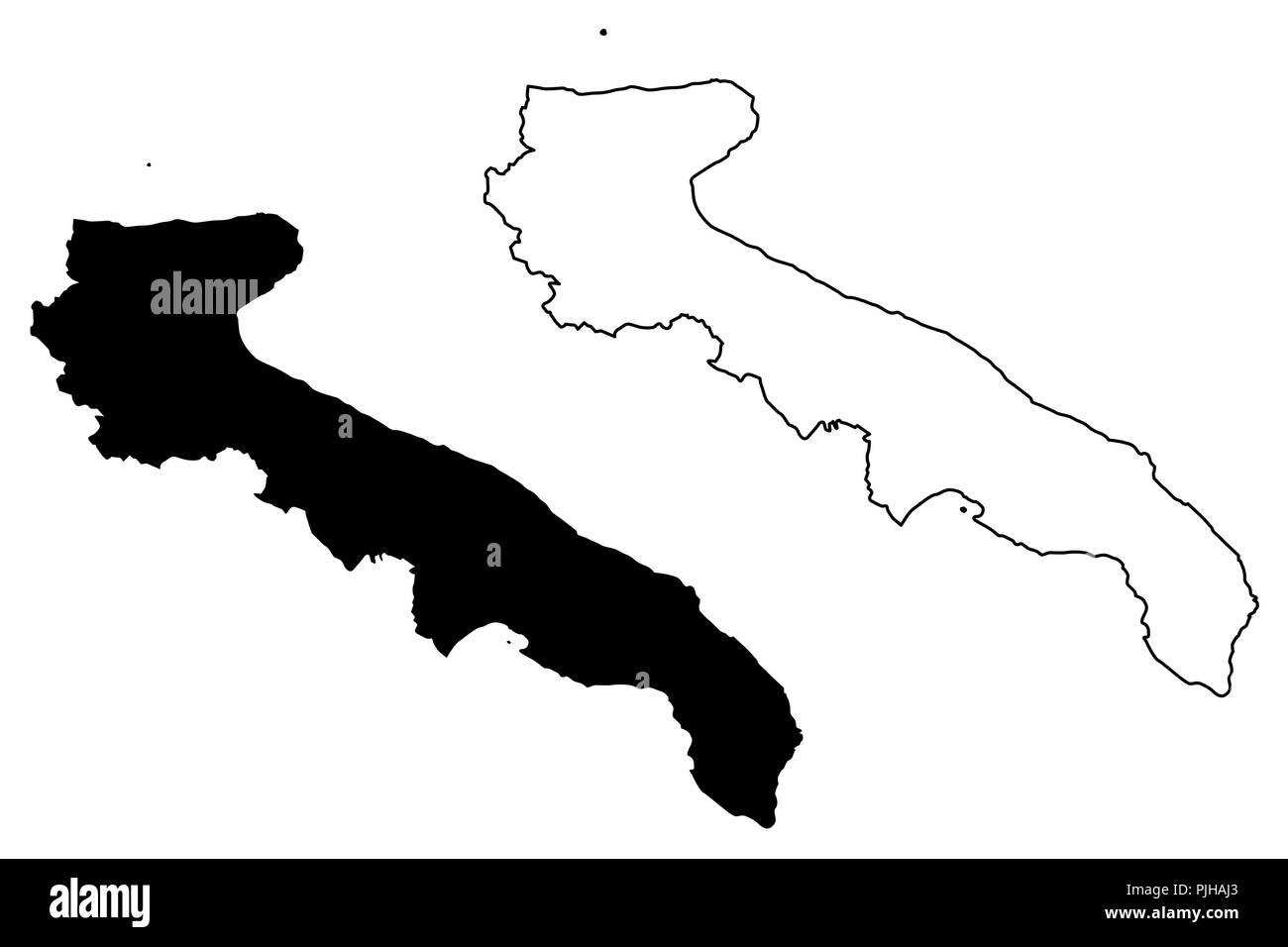 Apulien Autonome Region Italiens Karte Vektor Illustration