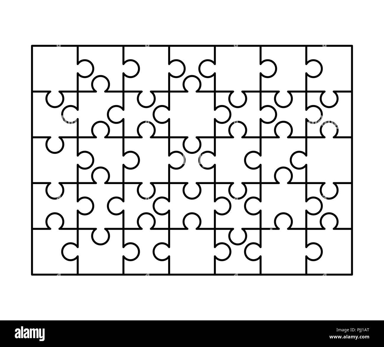 35 weiße Rätsel Stücke in einem Rechteck angeordnet. Puzzle Vorlage ...