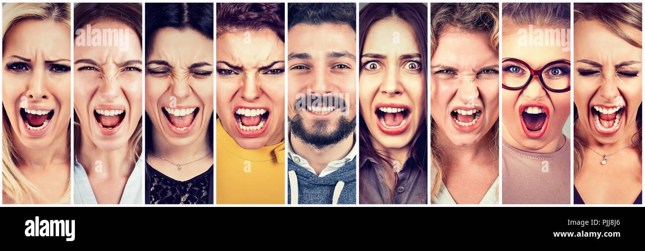 Multiethnische Gruppe von frustriert, verzweifelt, wütend, Frauen und eine Glücklich lächelnde Bart Mann betont. Positives Denken ina Beziehung Konzept Stockbild