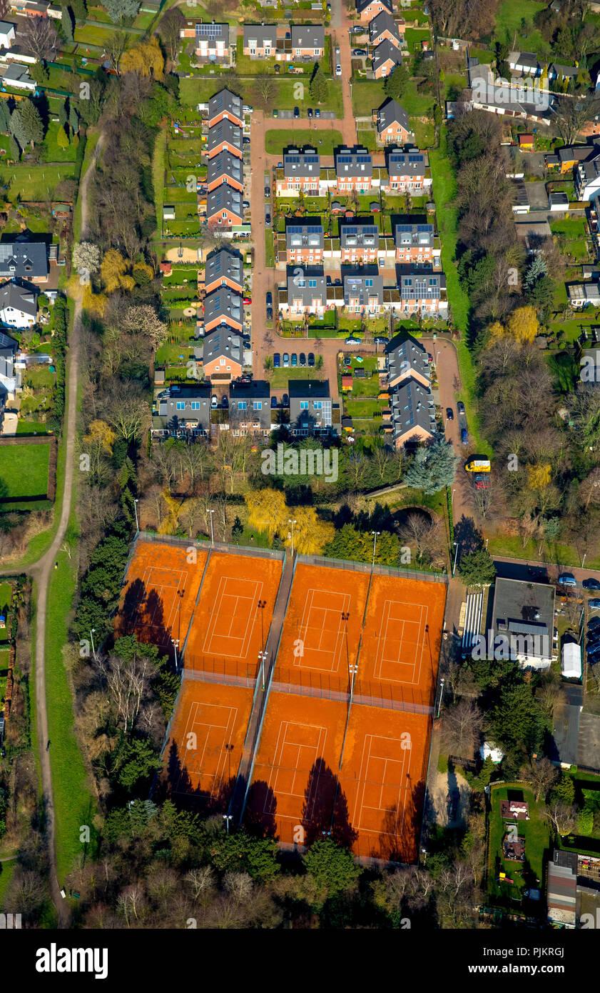 Tennis Club Babcock 1975 e. V, Kiwittenberg Alstaden mit neuen Entwicklung Bereich Günther-Büch-Straße, Oberhausen, Ruhrgebiet, Nordrhein-Westfalen, Deutschland Stockfoto