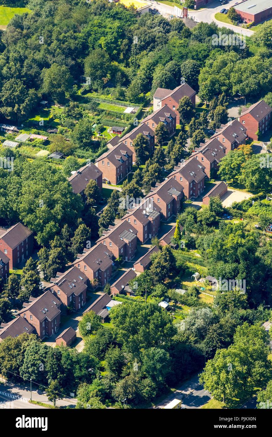 Bergbau Siedlung, die bergarbeiter Siedlung, die kohlengruben der früheren Zeche Nordstern, Gelsenkirchen, Ruhrgebiet, Nordrhein-Westfalen, Deutschland Stockbild