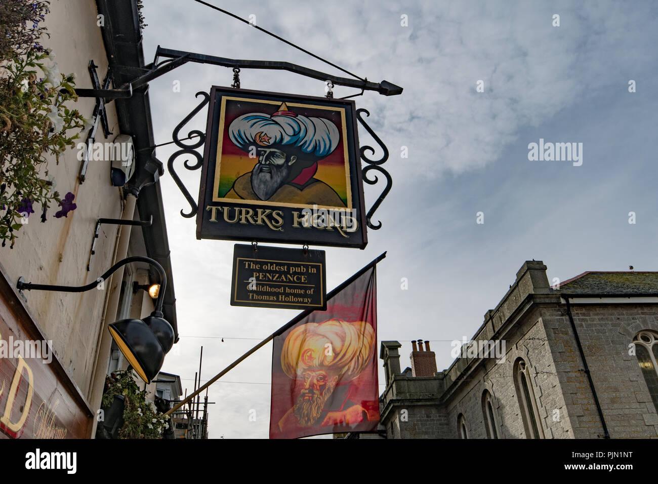 Turks Head Pub auf der Chapel Street Penzance Stockbild