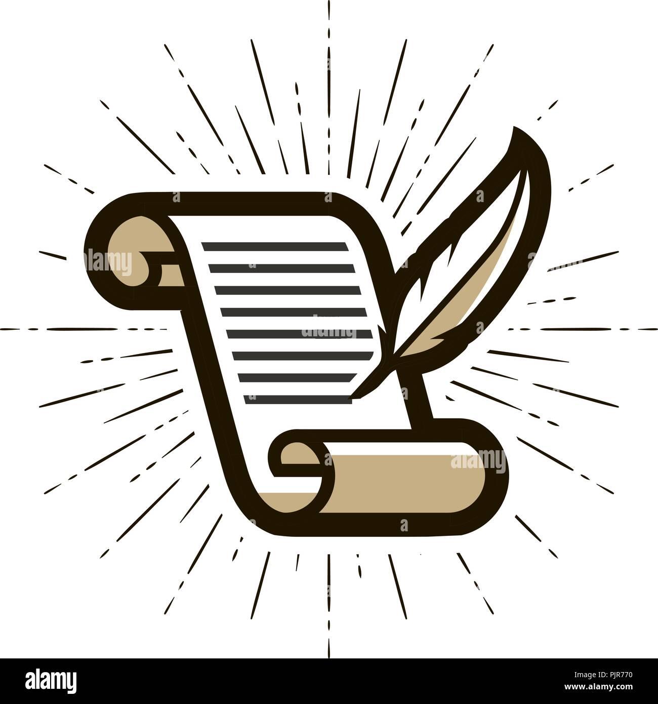 Dokument Vertrag Logo Oder Label Literatur Schreiben Feder Und