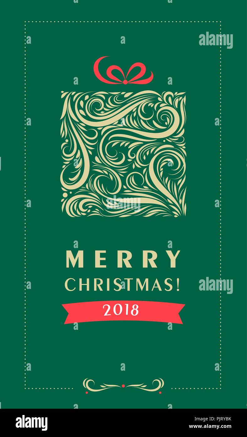 Weihnachtskarte mit Geschenkverpackung. Eps 10 Vector Illustration ...