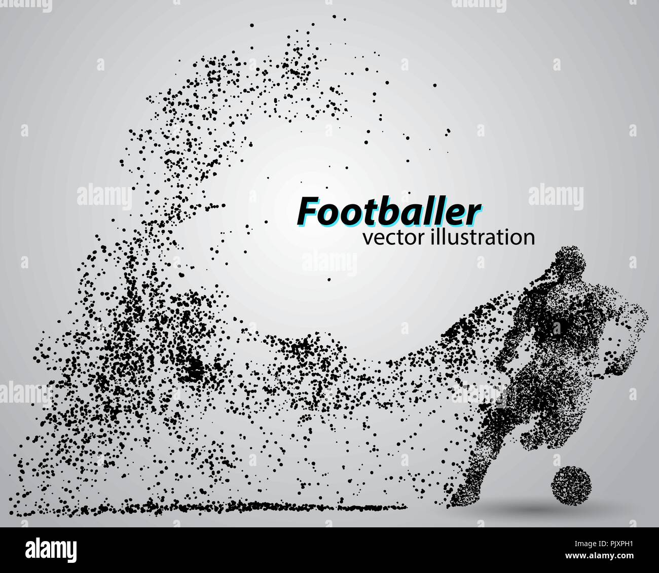 Silhouette einer Fußballspieler von Partikeln Stockbild