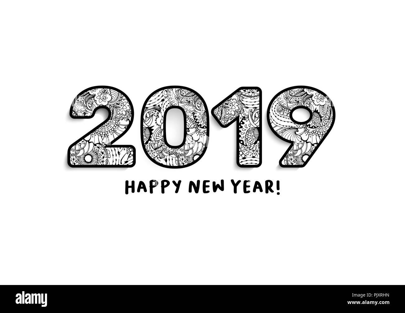 2019 Schriftzug, Frohes Neues Jahr wünscht. Kalender der vorderen ...
