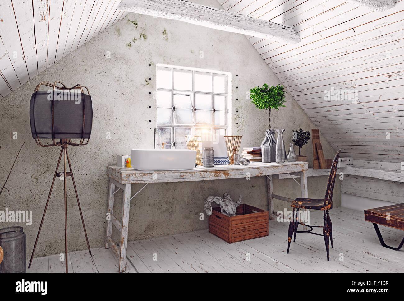 Moderne Einrichtung In Weiß Im Dachgeschoss. 3D Rendering Design Konzept