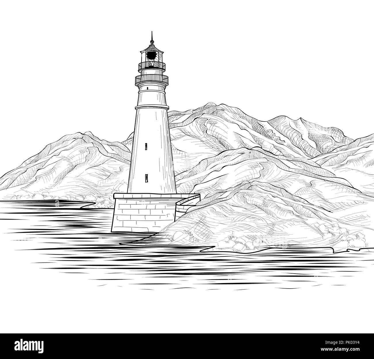 Leuchtturm gezeichnet