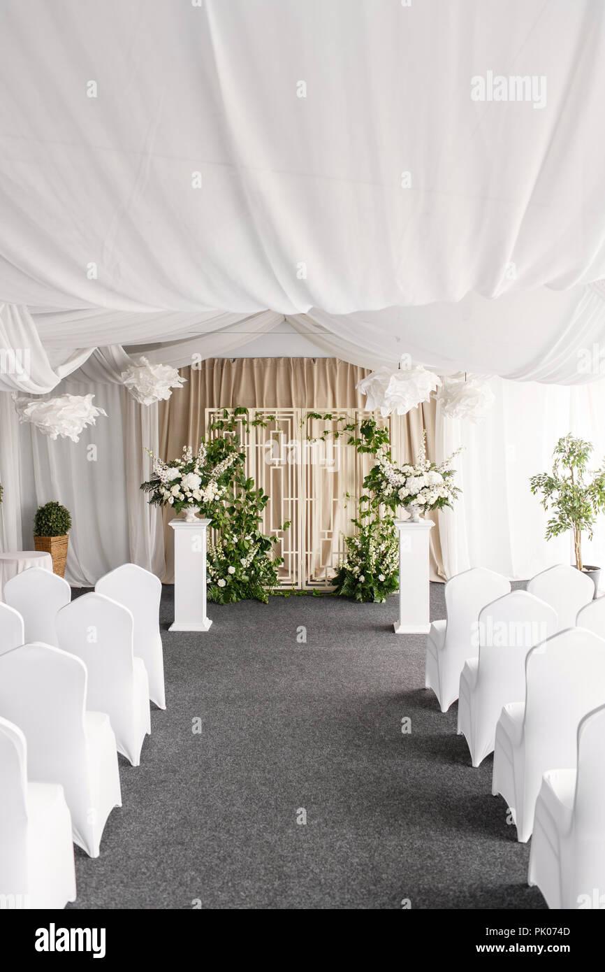 Hochzeit Dekoration Zeremonie In Einer Leichten Zelt Stuhle Und