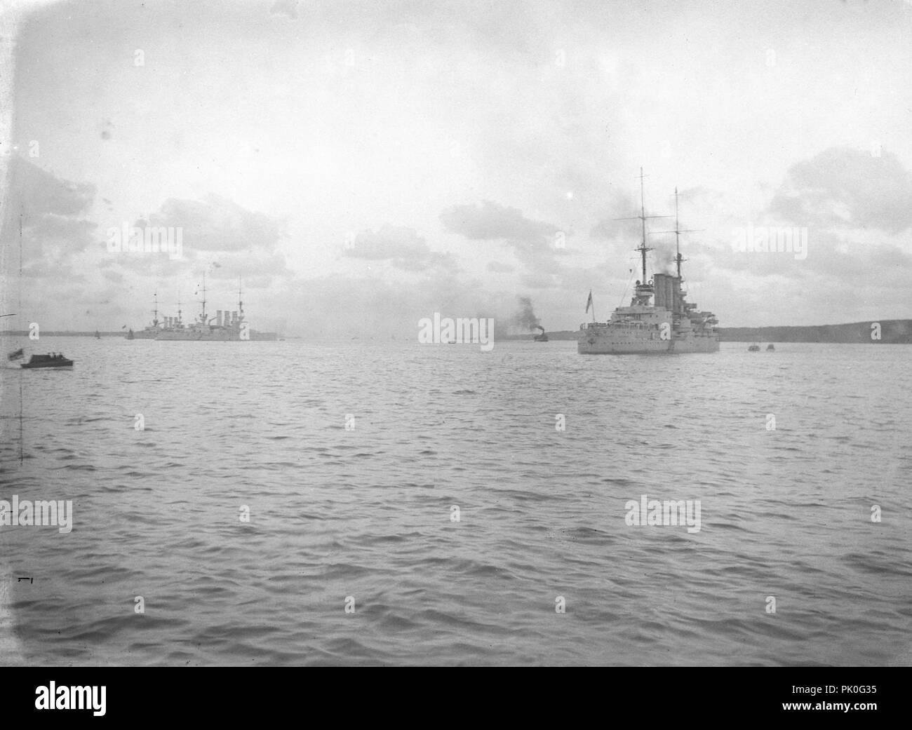 Kaiserlichen Marine Kreuzer/Schlachtschiffe der Braunschweig-Klasse-SMS Hessen 1912 - Deutsche Marine Braunschweig-Class Stockbild