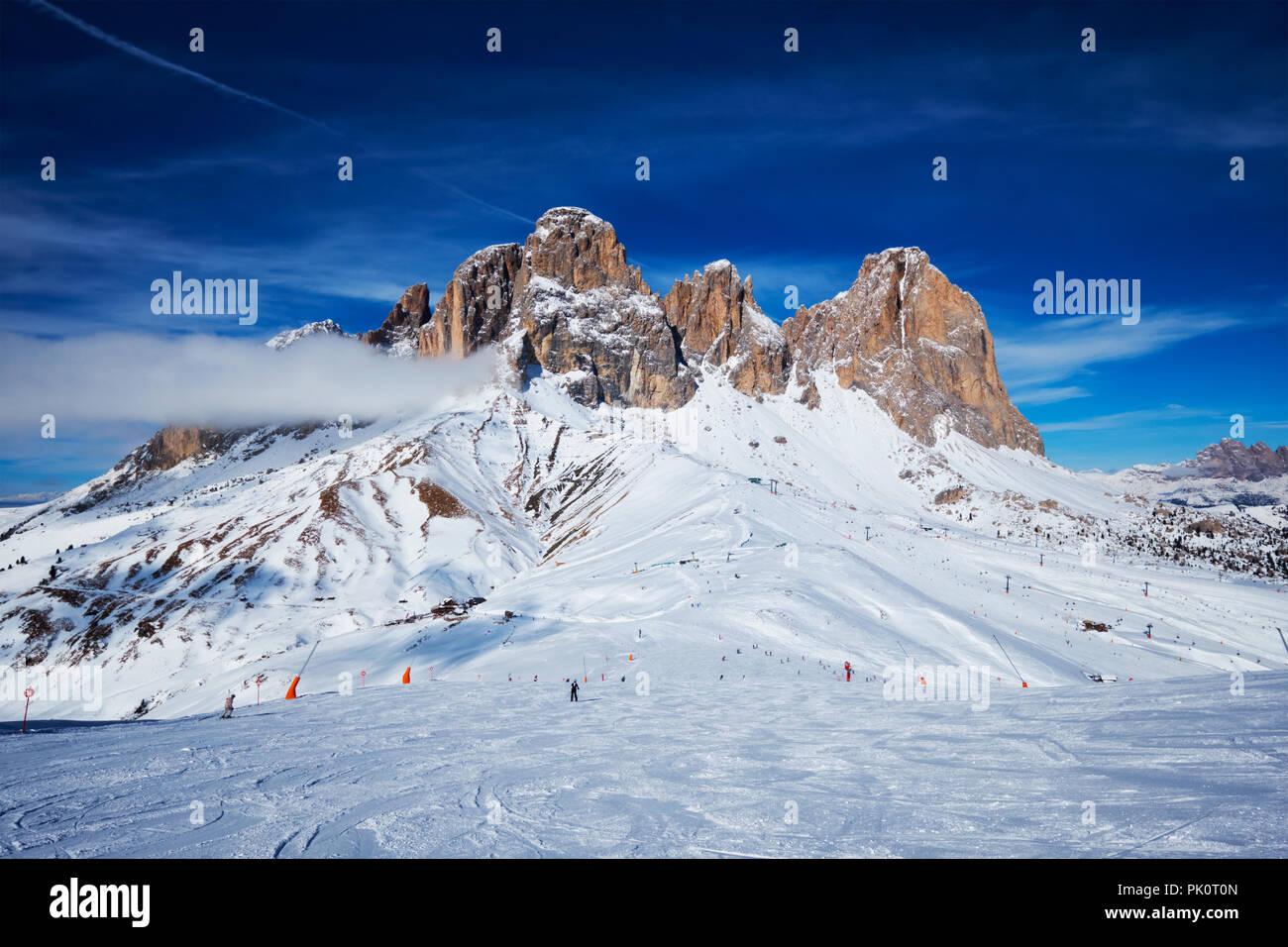 Skigebiet in Dolomiten, Italien Stockbild