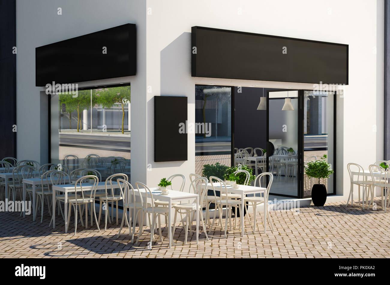 3D-Rendering des modernen Cafe store Exterieur mit Terrasse ...