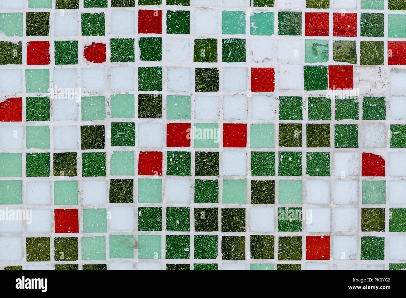 Abstrakt Grun Und Rot Mosaik Fliesen Fur Hintergrund Fur Ihr Design