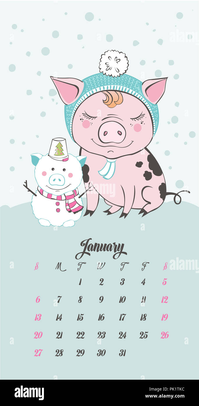 Satz von cute Pig Farm Zeichentrickfiguren. Chinesische Symbol für ...