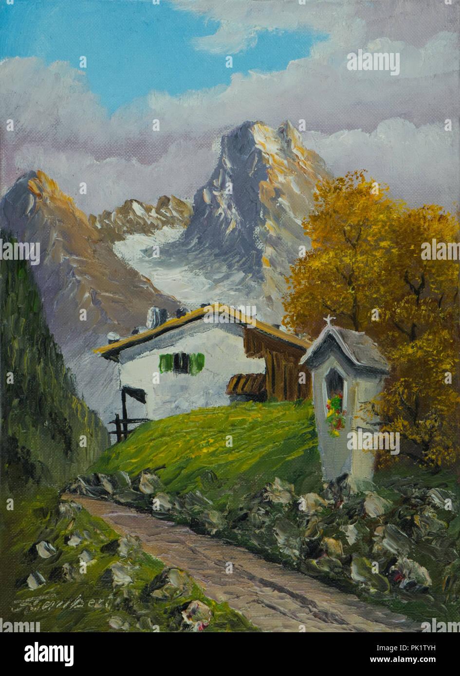 Ölgemälde von einem Bildstock neben dem Weg, die zu einem Haus in den Bergen Stockbild