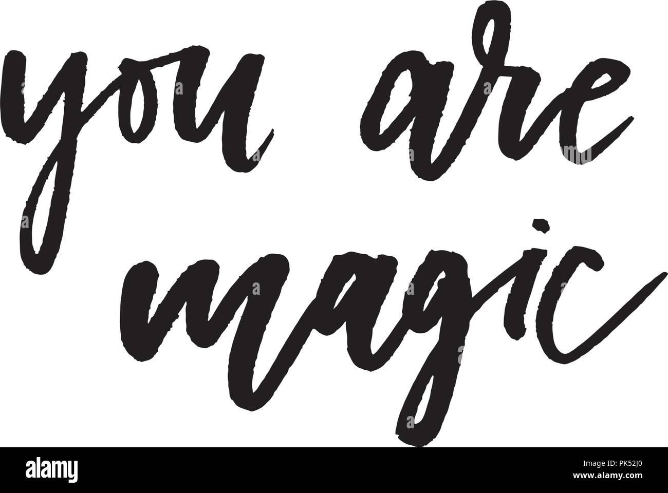 Motto Magic Phrase Grafik vektor Drucken Mode Schriftzug Vektor ...