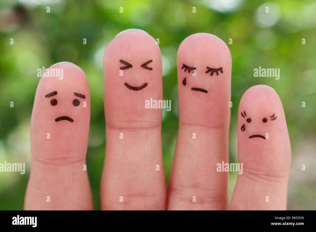 Finger Kunst des Menschen. Pessimisten und Optimisten. Stockbild
