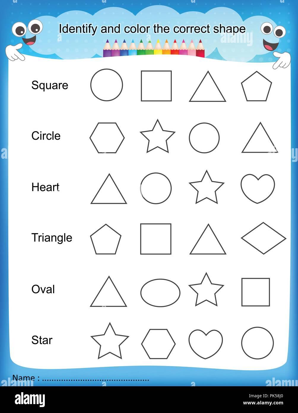 Identifizieren Und Farbe Die Richtige Form Bunte Druckbare Kinder