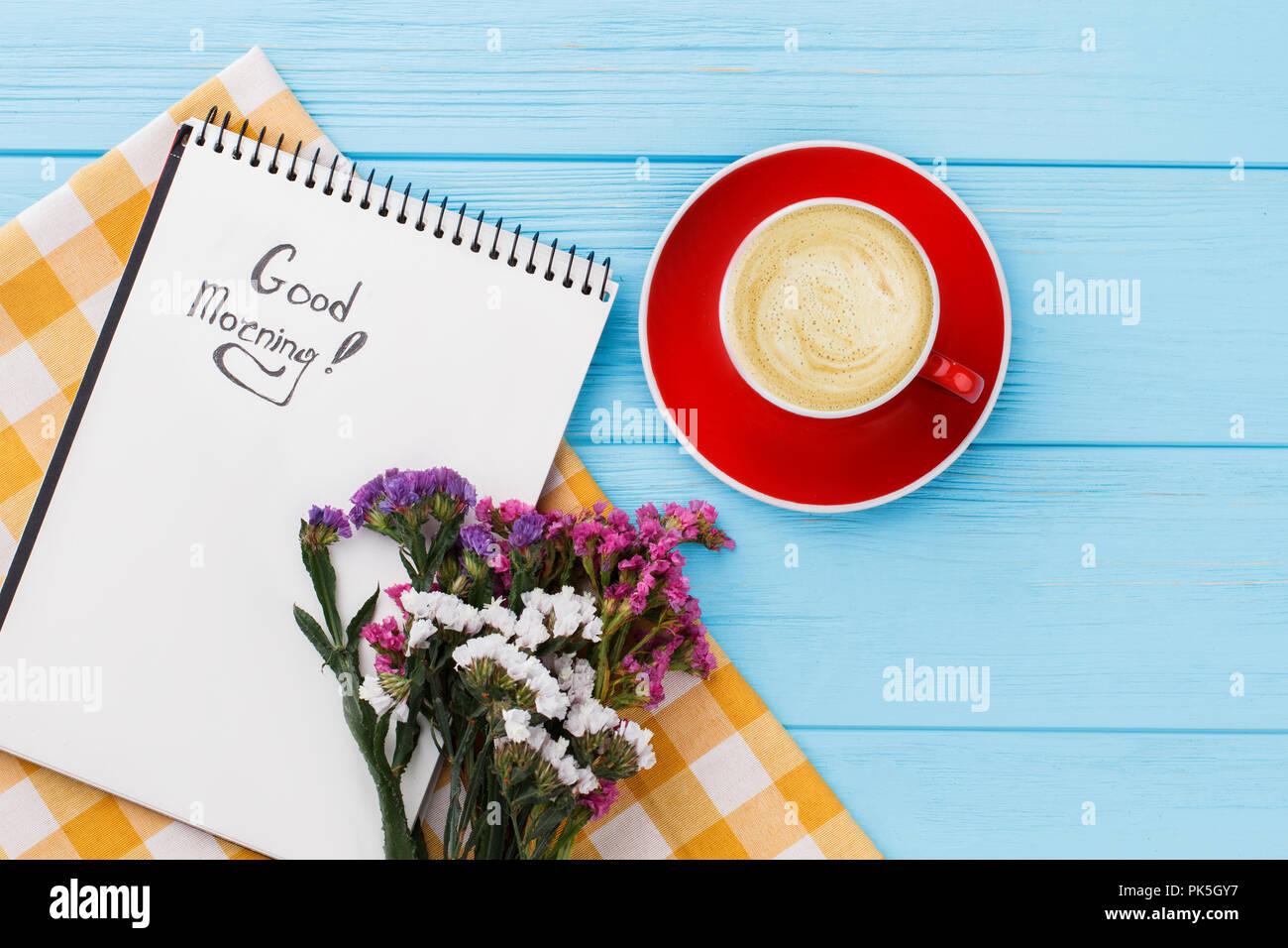 Guten Morgen Konzept Cop Kaffee Und Blumen Angenehme