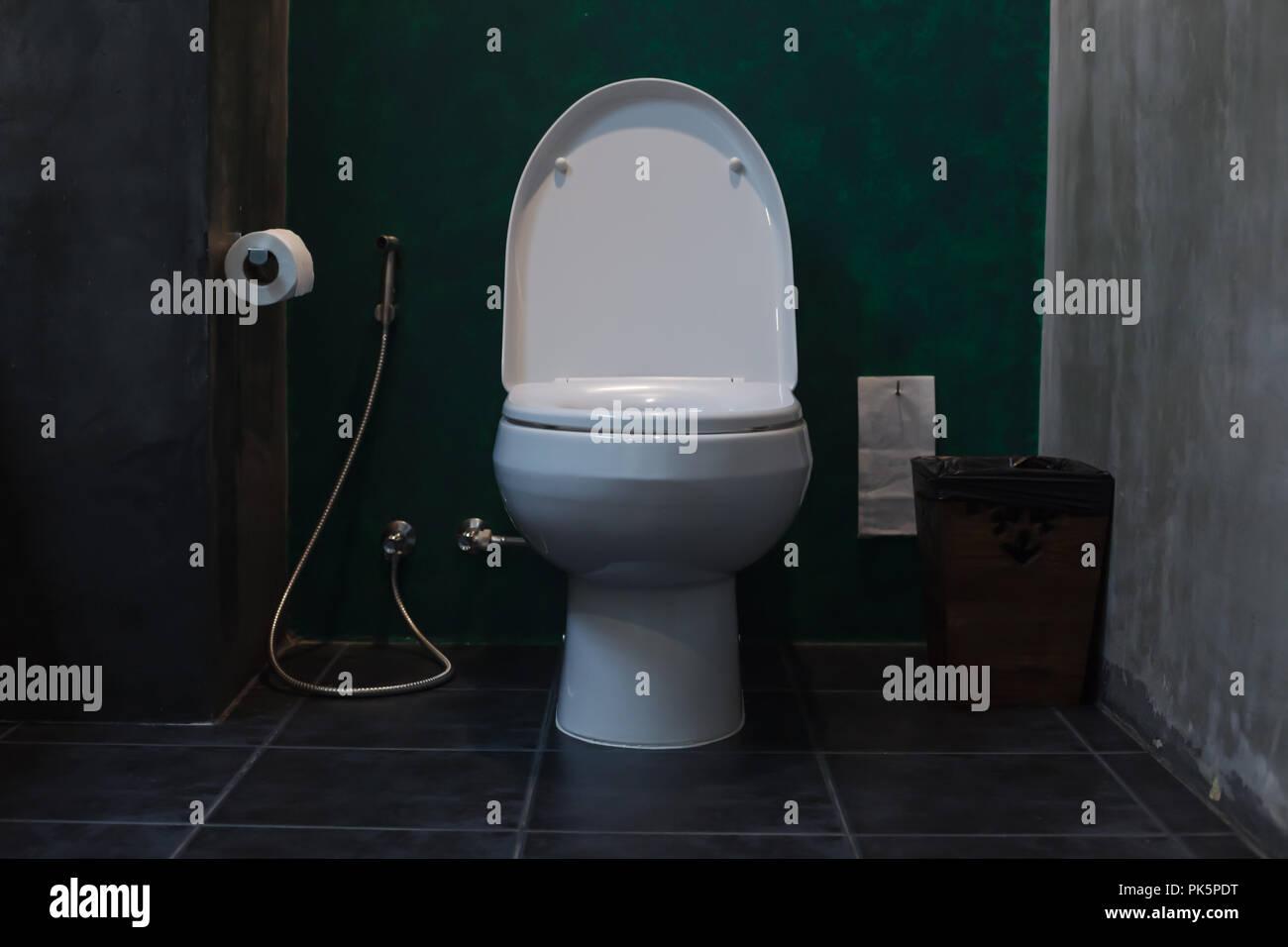 Weißer Keramik spülen Toilette im Badezimmer mit WC-Papier sanitär ...