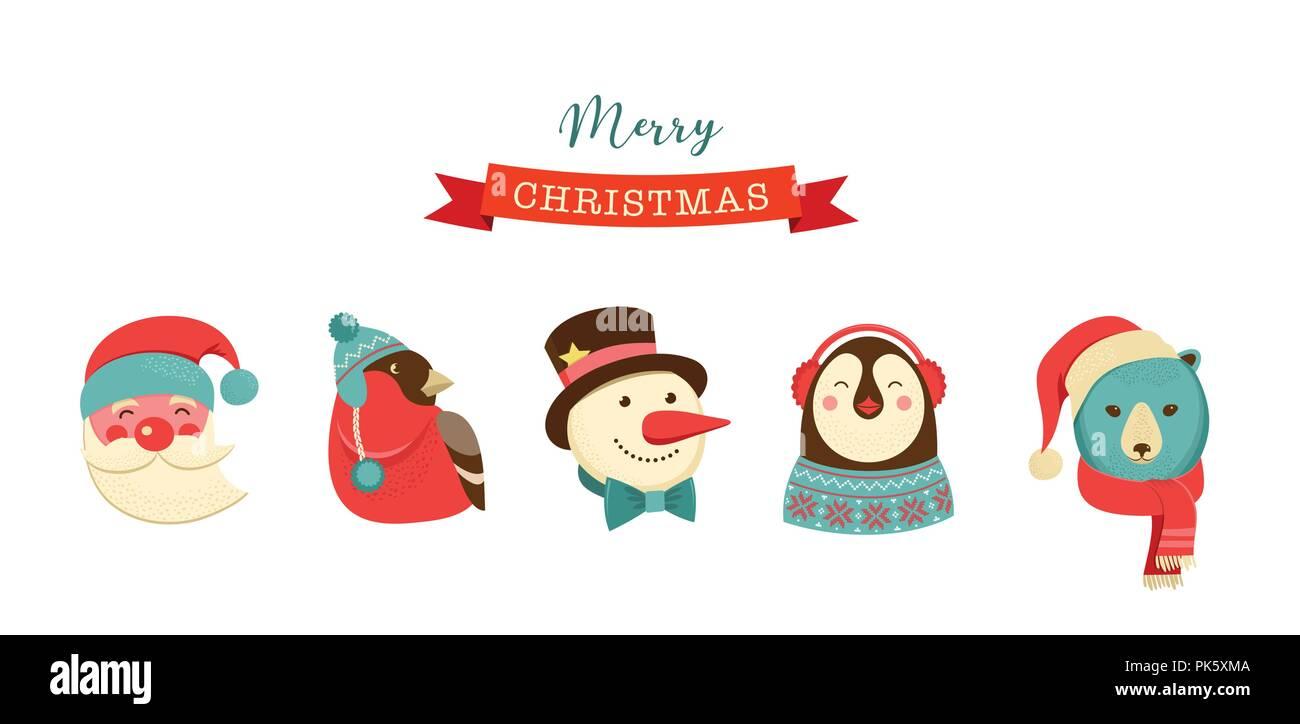 Etiketten Frohe Weihnachten.Frohe Weihnachten Symbole Retro Stil Elemente Und Illustration