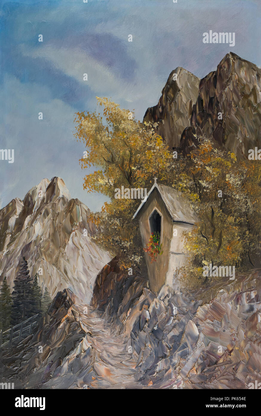 Öl Malerei - einem Bildstock in den Bergen zwischen zwei Bäumen Stockbild