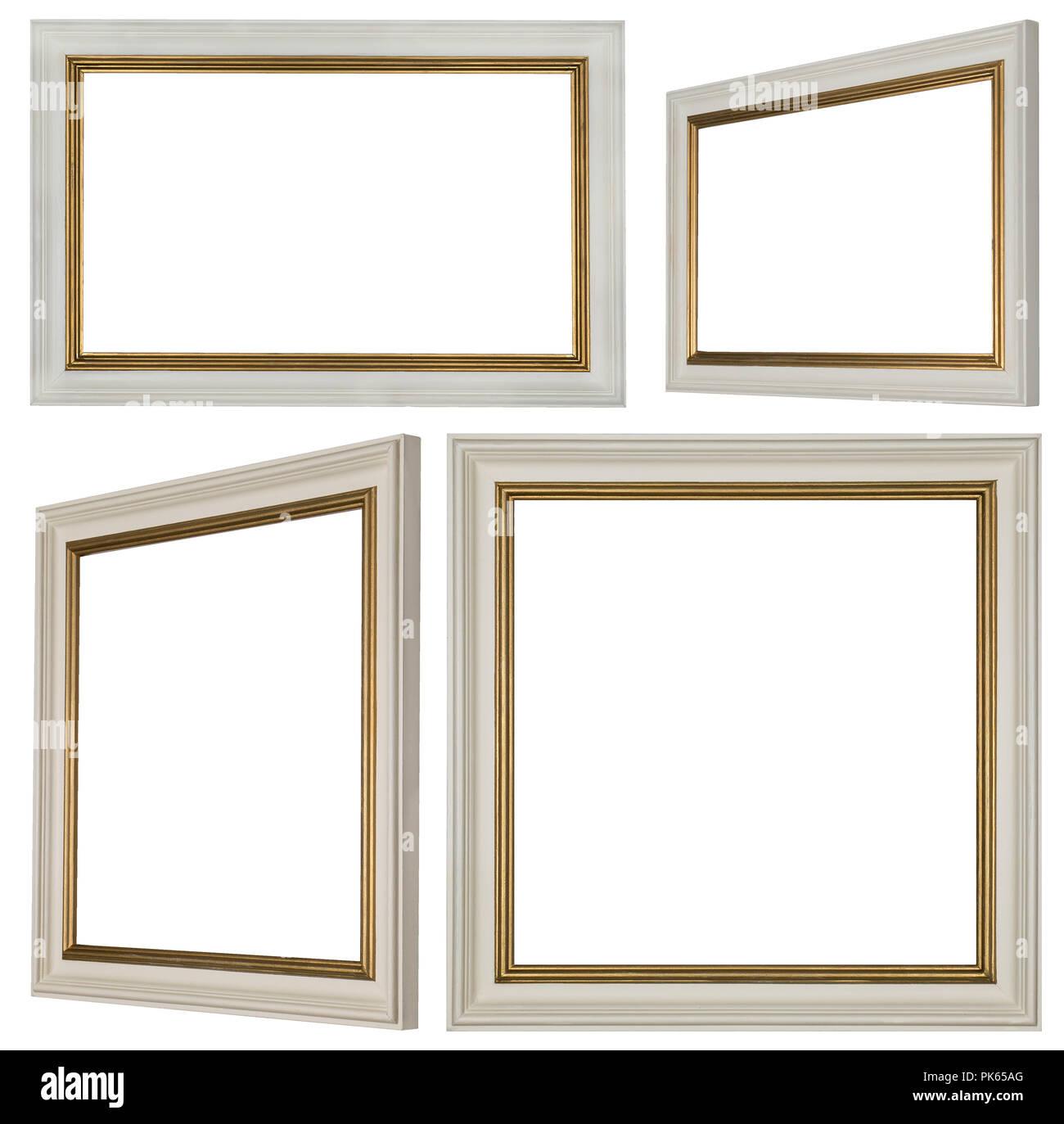 Weißen und goldenen Profil bemalten rechteckigen und quadratischen Bilderrahmen Stockfoto