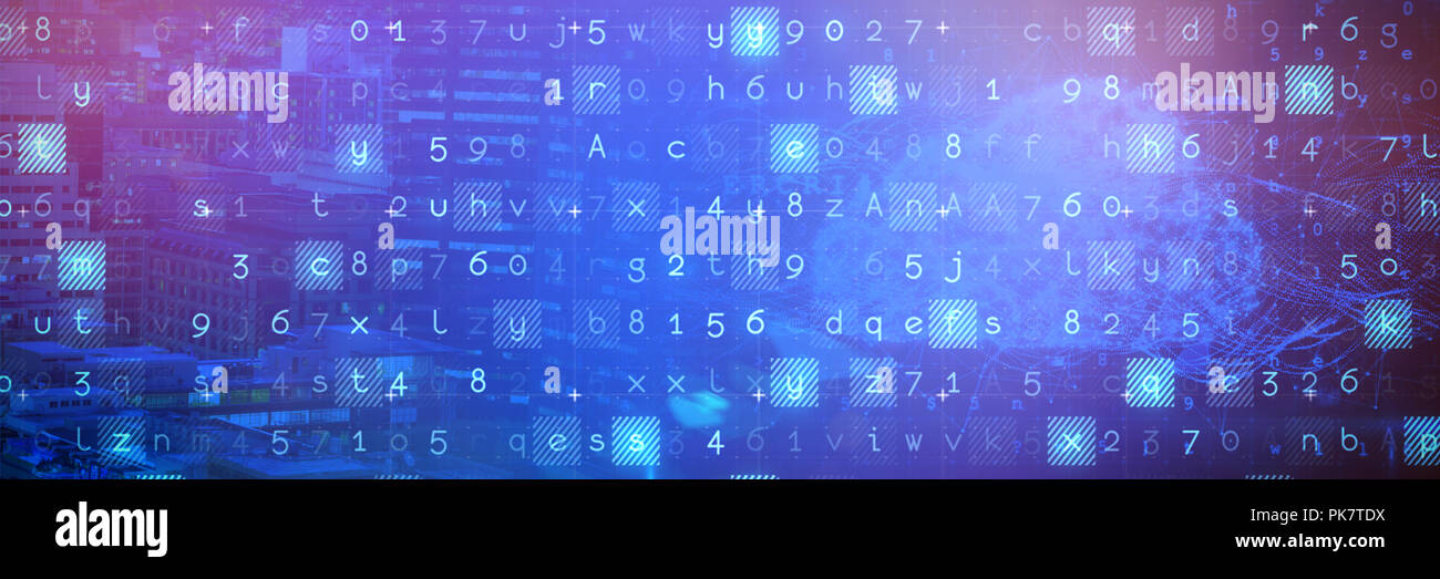 Das zusammengesetzte Bild von Cloud und Malware auf binäre Hintergrund erkannt Stockbild