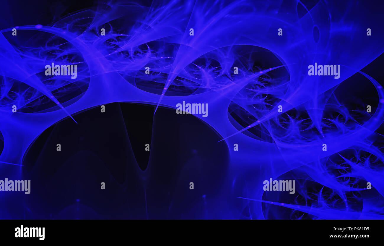 Schönen blauen Hintergrund der glühende Partikel und Linien mit Schärfentiefe und Bokeh. 3D-Illustration, 3D-Rendering Stockbild