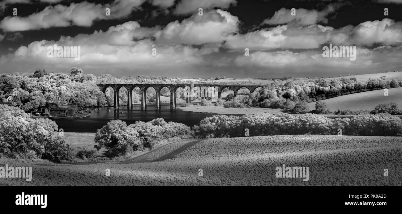 Viadukt über dem Fluss Tiddy, St Deutsche, Cornwall Stockbild