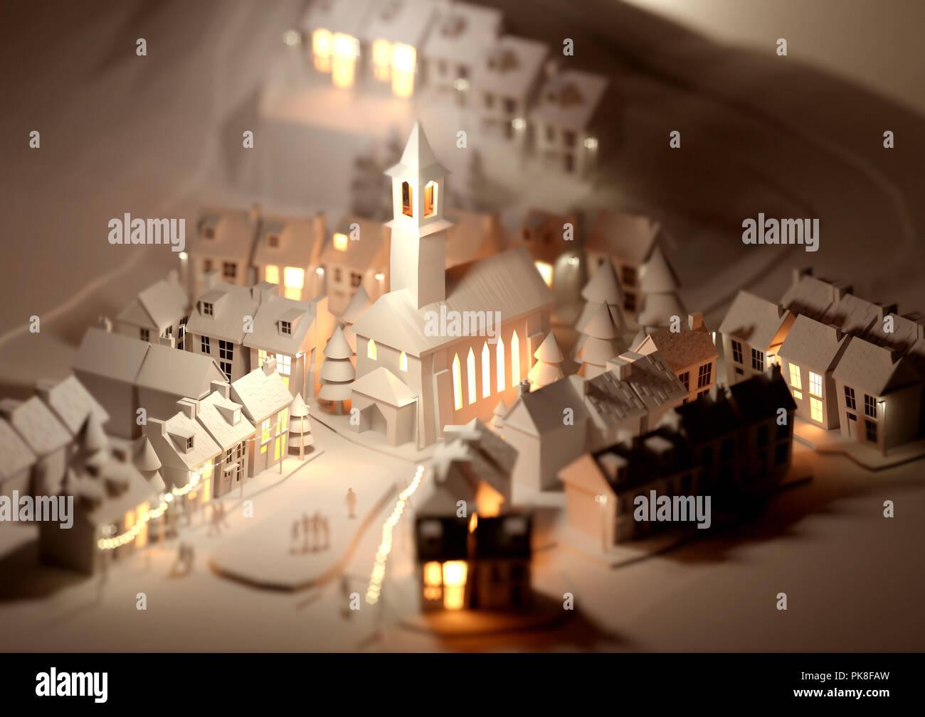 Ein Papiermodell vilage an Weihnachten mit leuchtenden Straßenlaternen. 3D-Darstellung. Stockbild