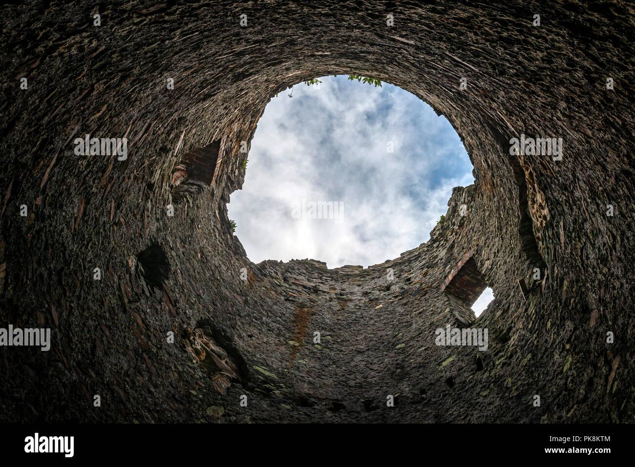 Die Überreste einer Mühle aus dem 18. Jahrhundert, dass der Dampf Pumpe bei Parys Mountain Kupfermine unterstützt Stockbild