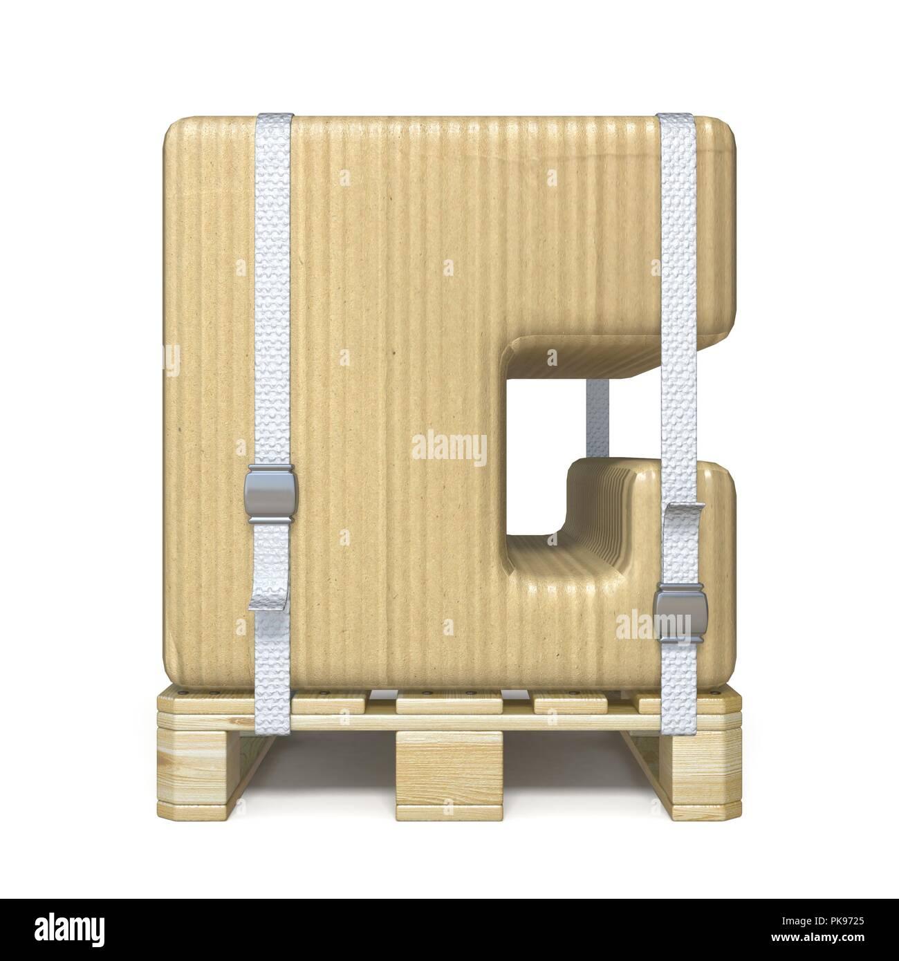 Karton font Buchstaben G auf Holzpalette 3D-Render Abbildung ...