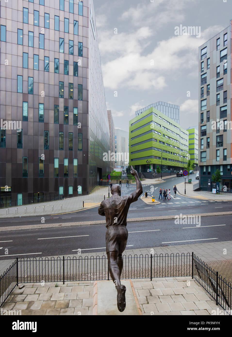 Statue von Alan Shearer außerhalb der St James' Park, Newcastle United Football Ground Stockbild