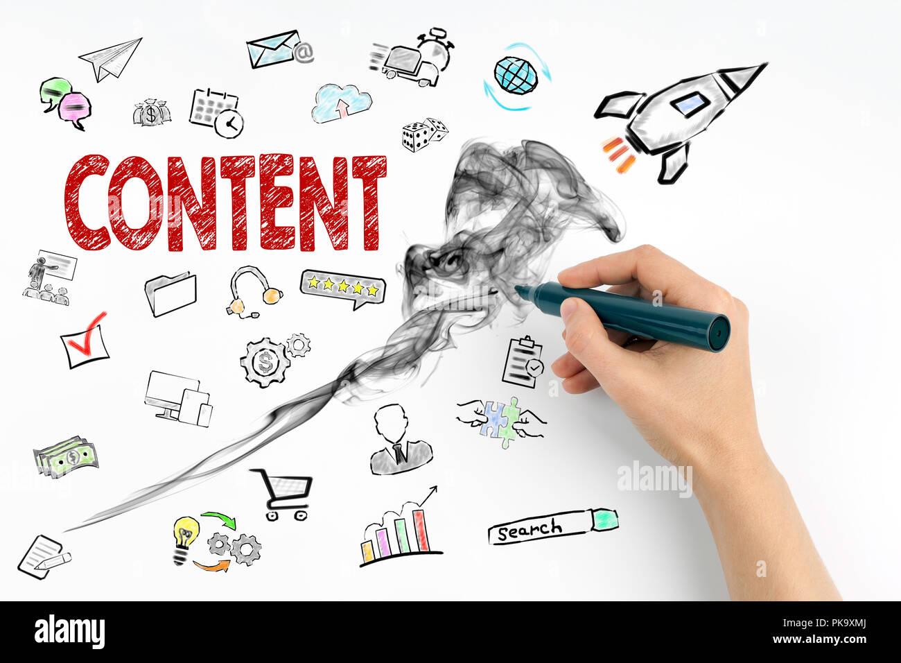 Inhalt und Social Media Konzept Stockbild