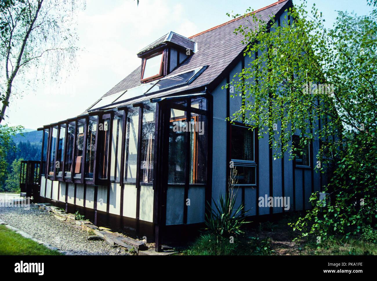 Eco-Haus, Zentrum für Alternative Technologie,: Llwyngwern Steinbruch, Pantperthog, Wales, UK, GB. Stockbild