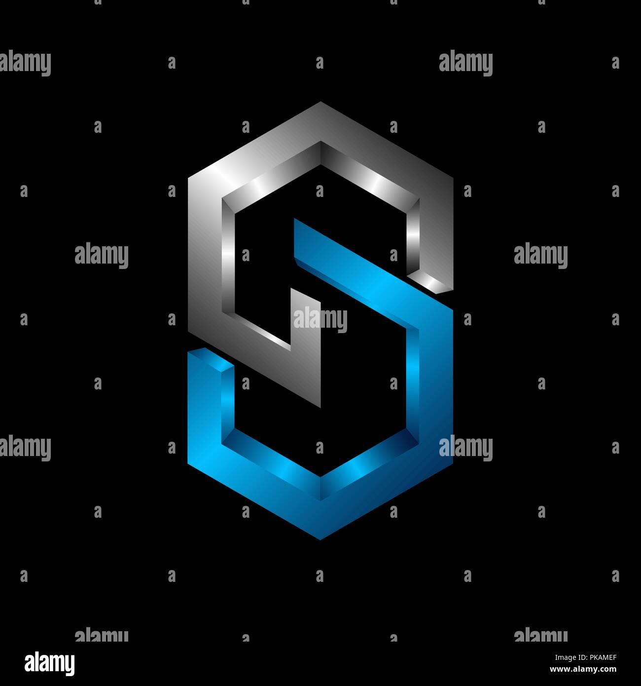 Cs 3d Buchstaben Logo Design Vector Illustration Vorlage C