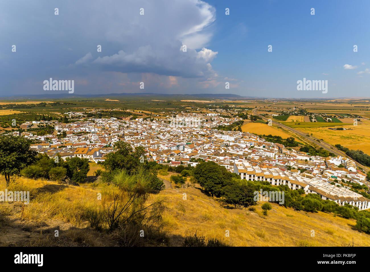 Der Blick von der Burg - Almodovar del Rio, Spanien Stockbild