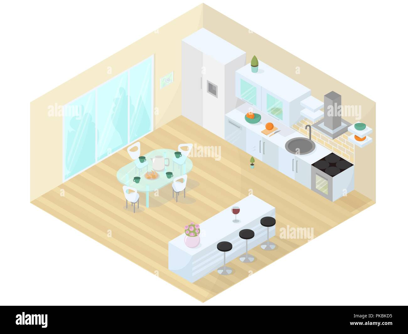 Küche Esszimmer studio isometrische Vector Illustration ...